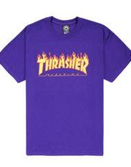 Thrasher, t-shirt, flame , purple